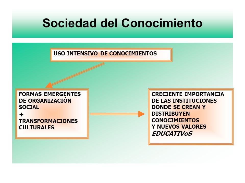 Sociedad del Conocimiento FORMAS EMERGENTES DE ORGANIZACIÓN SOCIAL + TRANSFORMACIONES CULTURALES USO INTENSIVO DE CONOCIMIENTOS CRECIENTE IMPORTANCIA DE LAS INSTITUCIONES DONDE SE CREAN Y DISTRIBUYEN CONOCIMIENTOS Y NUEVOS VALORES EDUCATIVoS