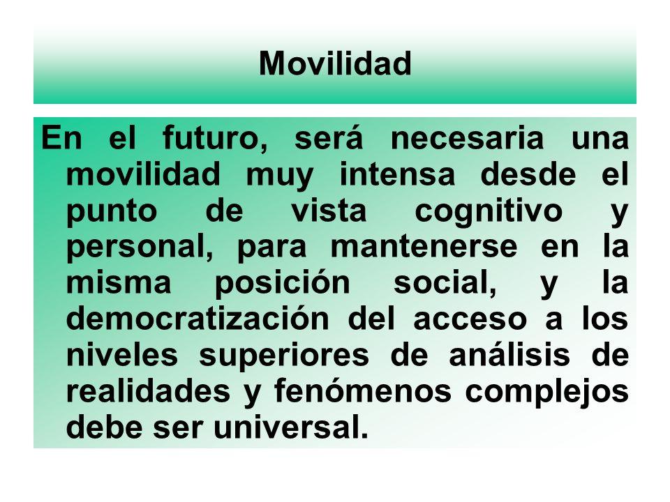 Movilidad En el futuro, será necesaria una movilidad muy intensa desde el punto de vista cognitivo y personal, para mantenerse en la misma posición so