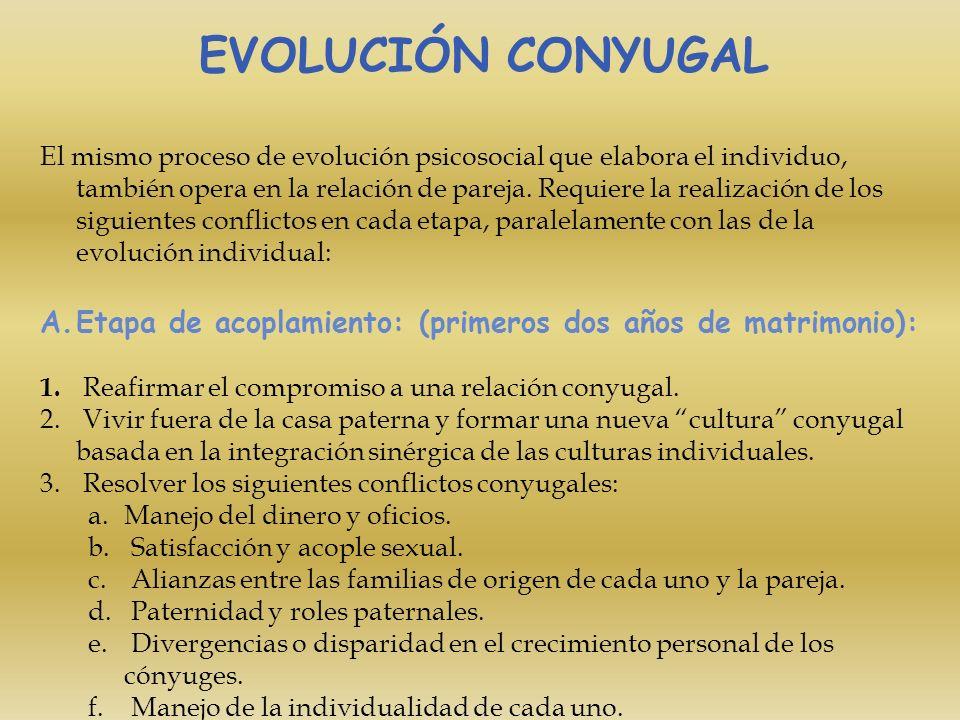 EVOLUCIÓN CONYUGAL El mismo proceso de evolución psicosocial que elabora el individuo, también opera en la relación de pareja. Requiere la realización