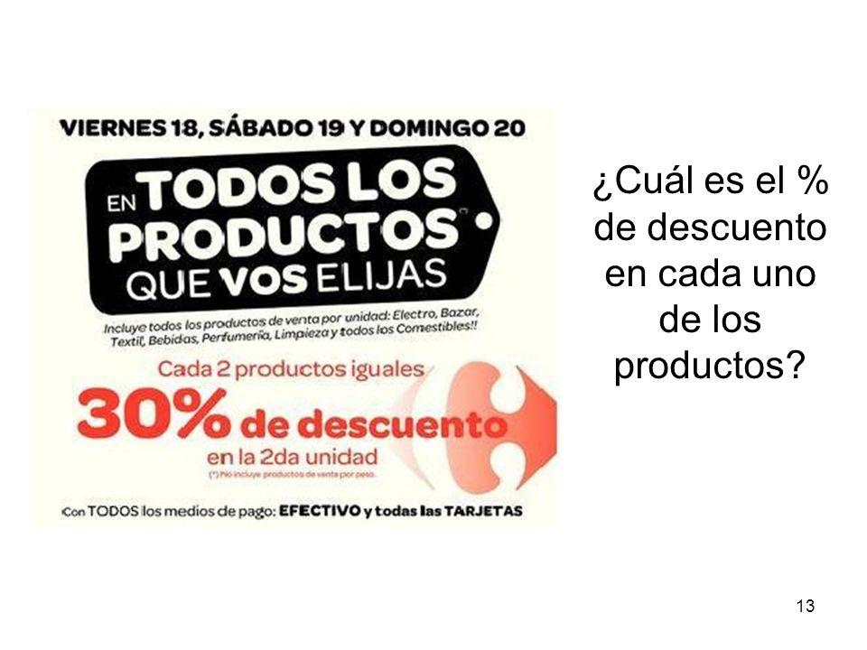 ¿Cuál es el % de descuento en cada uno de los productos? 13
