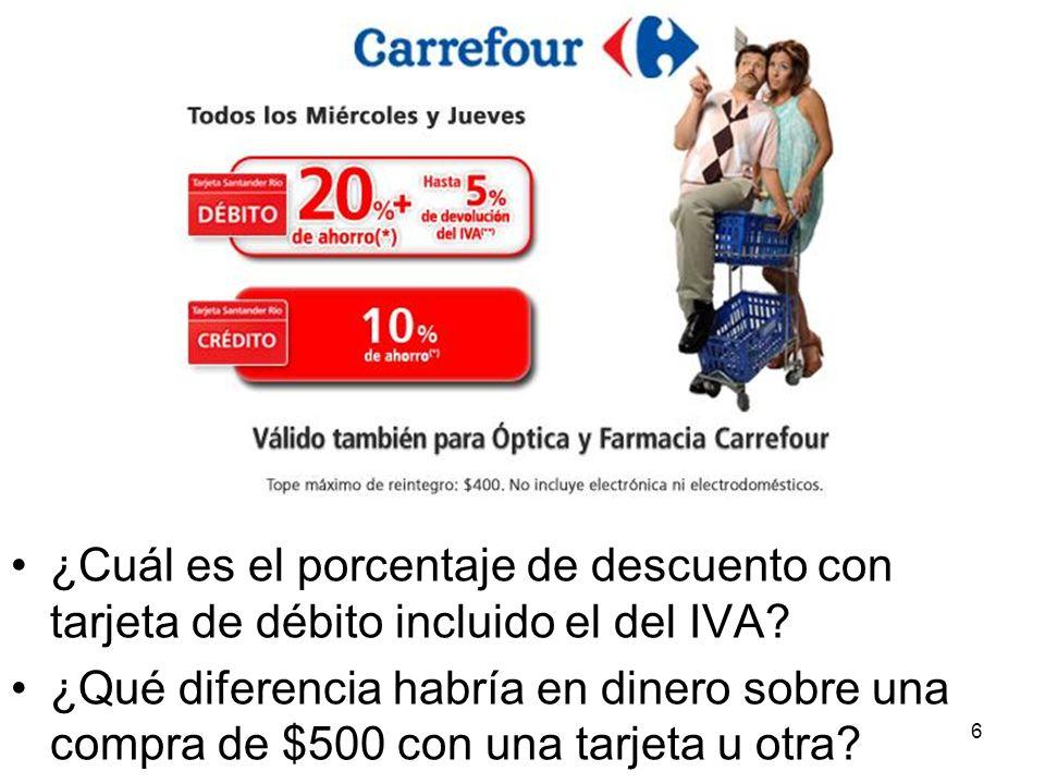 ¿Cuál es el porcentaje de descuento con tarjeta de débito incluido el del IVA.