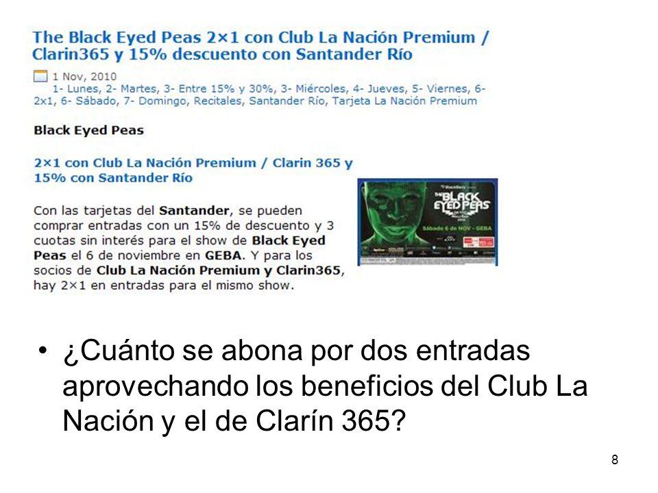¿Cuánto se abona por dos entradas aprovechando los beneficios del Club La Nación y el de Clarín 365? 8
