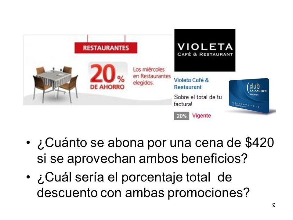 ¿Cuánto se abona por una cena de $420 si se aprovechan ambos beneficios? ¿Cuál sería el porcentaje total de descuento con ambas promociones? 9
