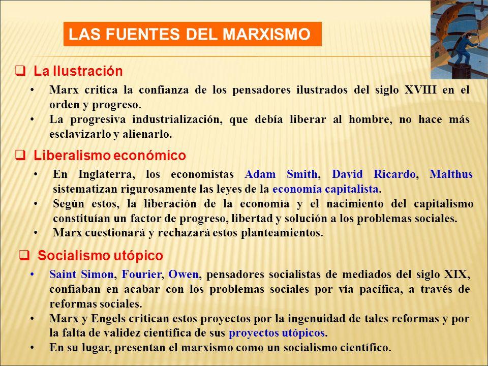 LAS FUENTES DEL MARXISMO Marx critica la confianza de los pensadores ilustrados del siglo XVIII en el orden y progreso.
