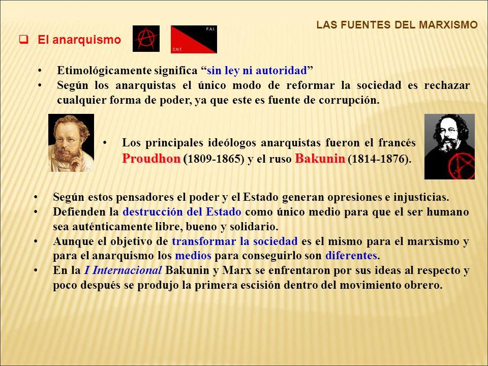 El anarquismo LAS FUENTES DEL MARXISMO Etimológicamente significa sin ley ni autoridad Según los anarquistas el único modo de reformar la sociedad es rechazar cualquier forma de poder, ya que este es fuente de corrupción.