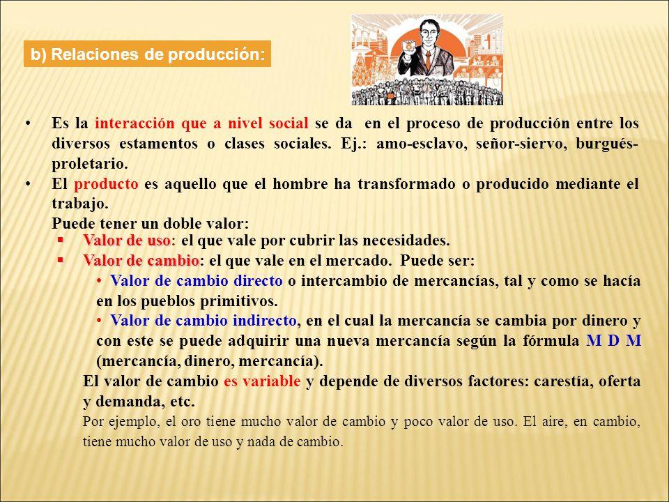 b) Relaciones de producción: Es la interacción que a nivel social se da en el proceso de producción entre los diversos estamentos o clases sociales.