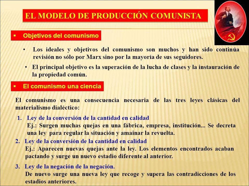 EL MODELO DE PRODUCCIÓN COMUNISTA Los ideales y objetivos del comunismo son muchos y han sido continúa revisión no sólo por Marx sino por la mayoría de sus seguidores.