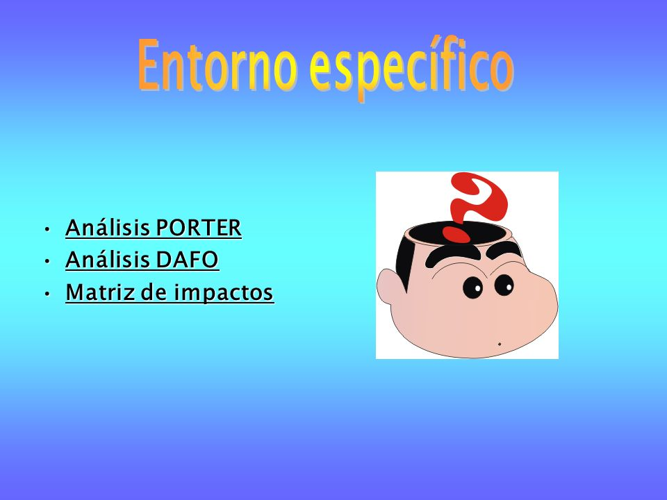 Análisis PORTERAnálisis PORTER Análisis DAFOAnálisis DAFO Matriz de impactosMatriz de impactos