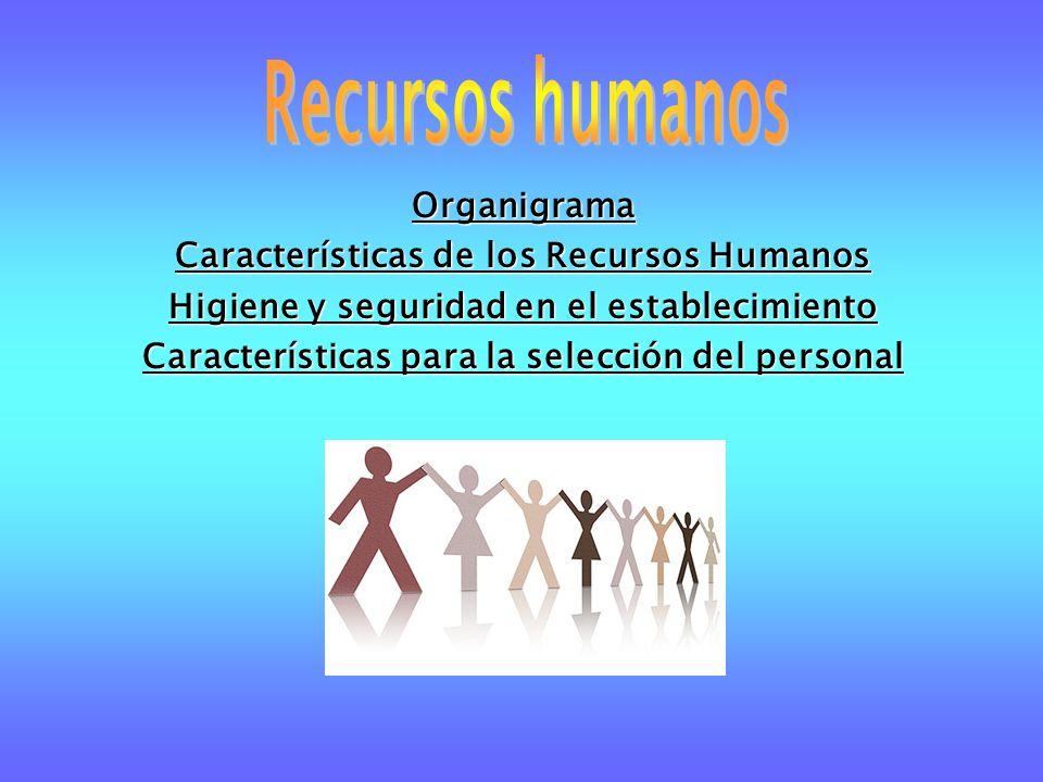 Organigrama Características de los Recursos Humanos Higiene y seguridad en el establecimiento Características para la selección del personal