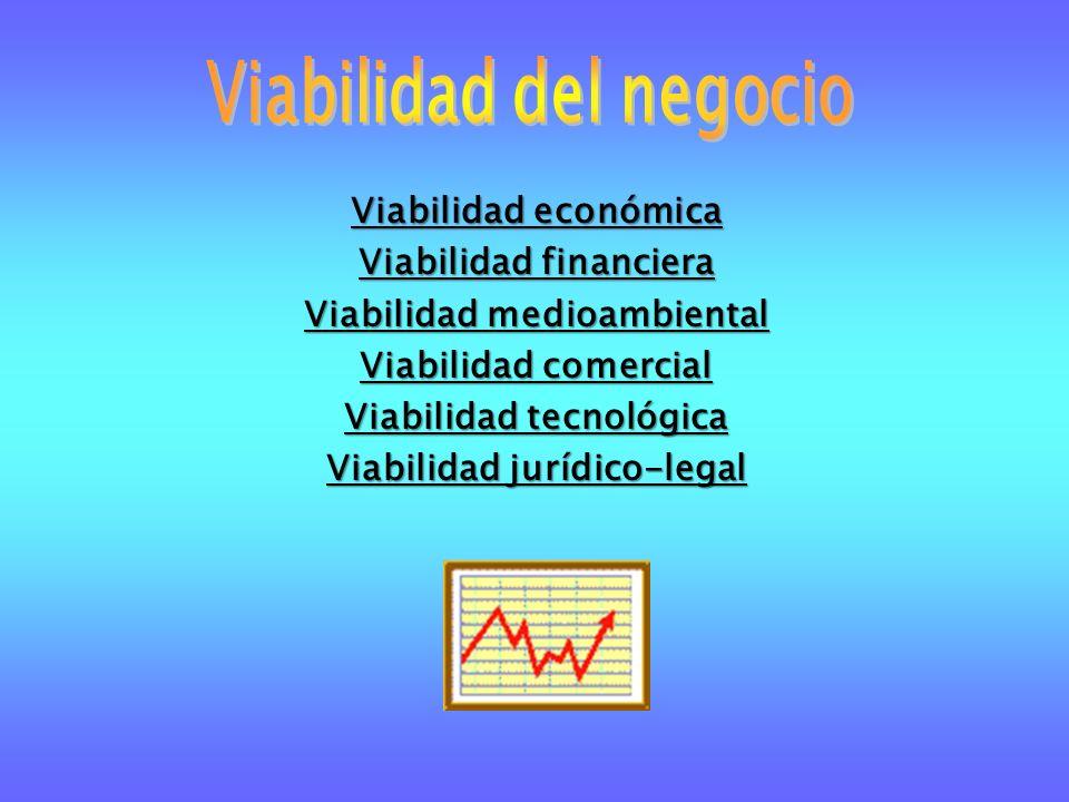 Viabilidad económica Viabilidad financiera Viabilidad medioambiental Viabilidad comercial Viabilidad tecnológica Viabilidad jurídico-legal