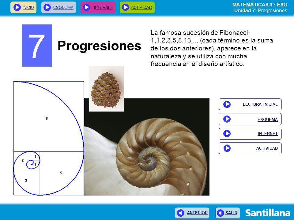 MATEMÁTICAS 3.º ESO Unidad 7: Progresiones INICIOESQUEMA INTERNETACTIVIDAD ANTERIOR SALIR Sucesiones recurrentes Cuando los términos de una sucesión se calculan a partir de los anteriores, se dice que la sucesión es recurrente, como ocurre con la sucesión de Fibonacci.