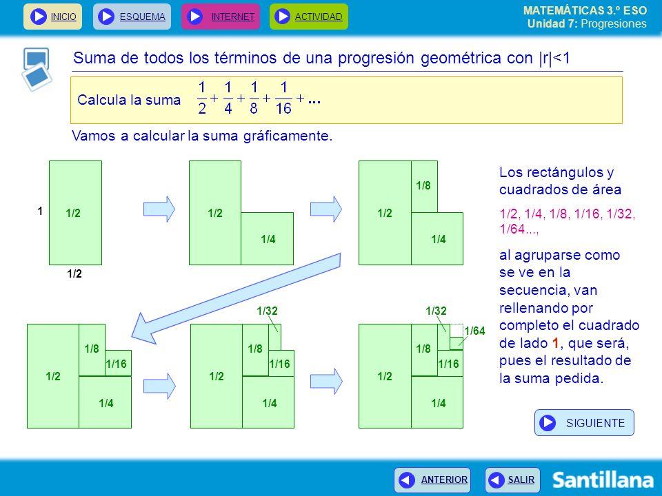 MATEMÁTICAS 3.º ESO Unidad 7: Progresiones INICIOESQUEMA INTERNETACTIVIDAD ANTERIOR SALIR Suma de todos los términos de una progresión geométrica con