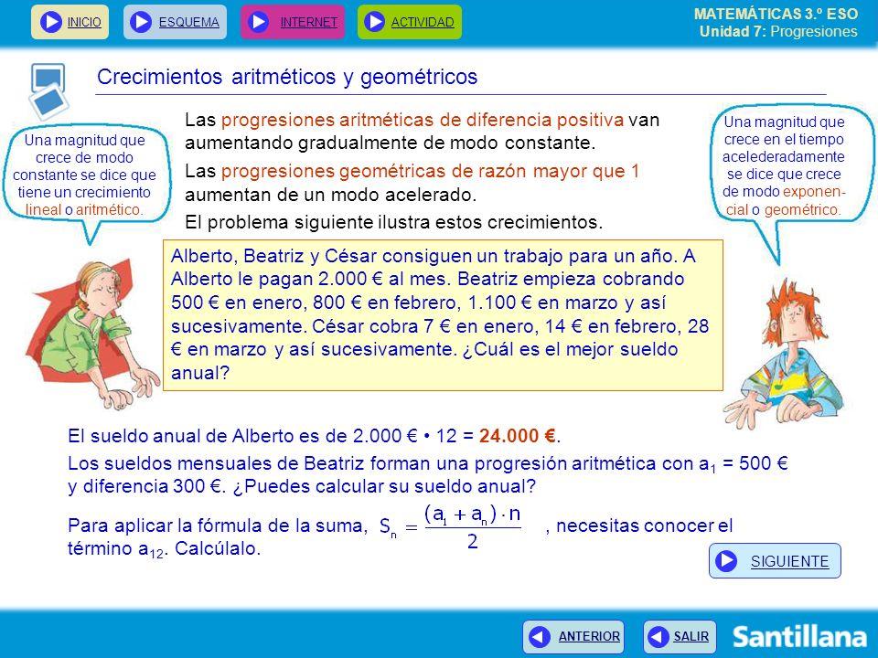 MATEMÁTICAS 3.º ESO Unidad 7: Progresiones INICIOESQUEMA INTERNETACTIVIDAD ANTERIOR SALIR Las progresiones aritméticas de diferencia positiva van aumentando gradualmente de modo constante.