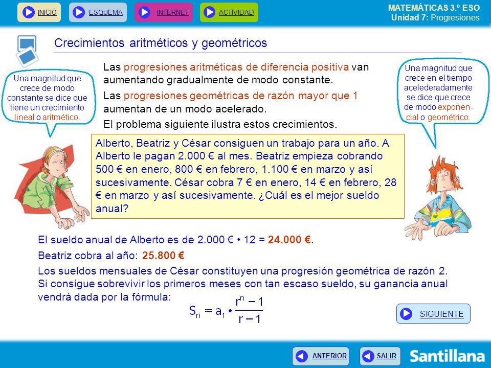 MATEMÁTICAS 3.º ESO Unidad 7: Progresiones INICIOESQUEMA INTERNETACTIVIDAD ANTERIOR SALIR Las progresiones aritméticas de diferencia positiva van aume