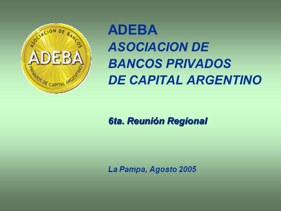 Constitución ADEBA fue creada en el año 1972 y refundada en abril de 2003 por iniciativa de los bancos privados argentinos, con el fin de impulsar el desarrollo y ejercer la representación de los intereses de la banca privada de capital nacional.