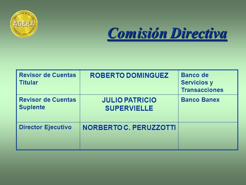 Comisión Directiva Revisor de Cuentas Titular ROBERTO DOMINGUEZ Banco de Servicios y Transacciones Revisor de Cuentas Suplente JULIO PATRICIO SUPERVIE