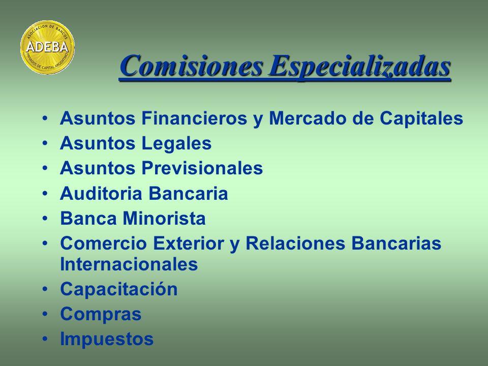 Asuntos Financieros y Mercado de Capitales Asuntos Legales Asuntos Previsionales Auditoria Bancaria Banca Minorista Comercio Exterior y Relaciones Ban