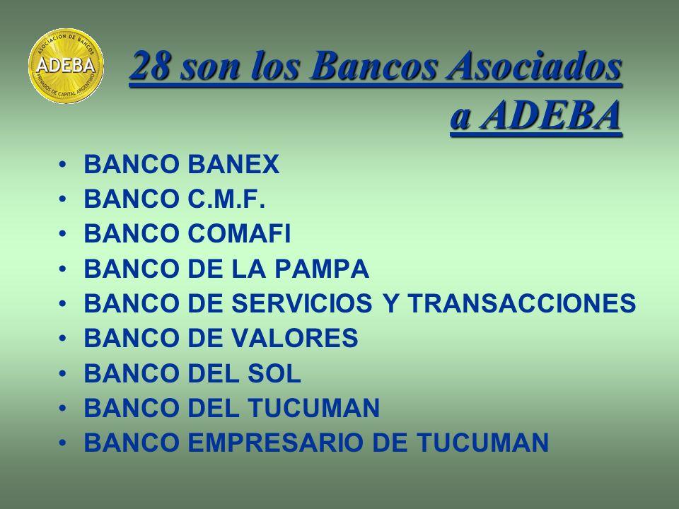 28 son los Bancos Asociados a ADEBA BANCO BANEX BANCO C.M.F. BANCO COMAFI BANCO DE LA PAMPA BANCO DE SERVICIOS Y TRANSACCIONES BANCO DE VALORES BANCO