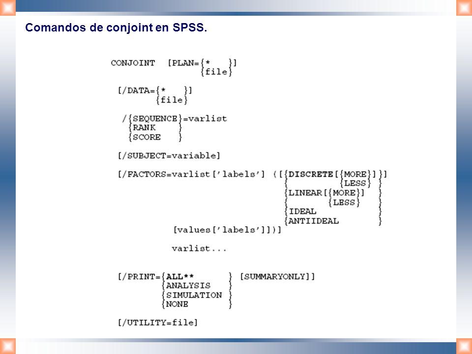 Comandos de conjoint en SPSS.