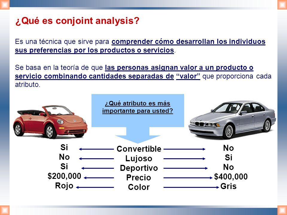 ¿Qué es conjoint analysis? Es una técnica que sirve para comprender cómo desarrollan los individuos sus preferencias por los productos o servicios. Se