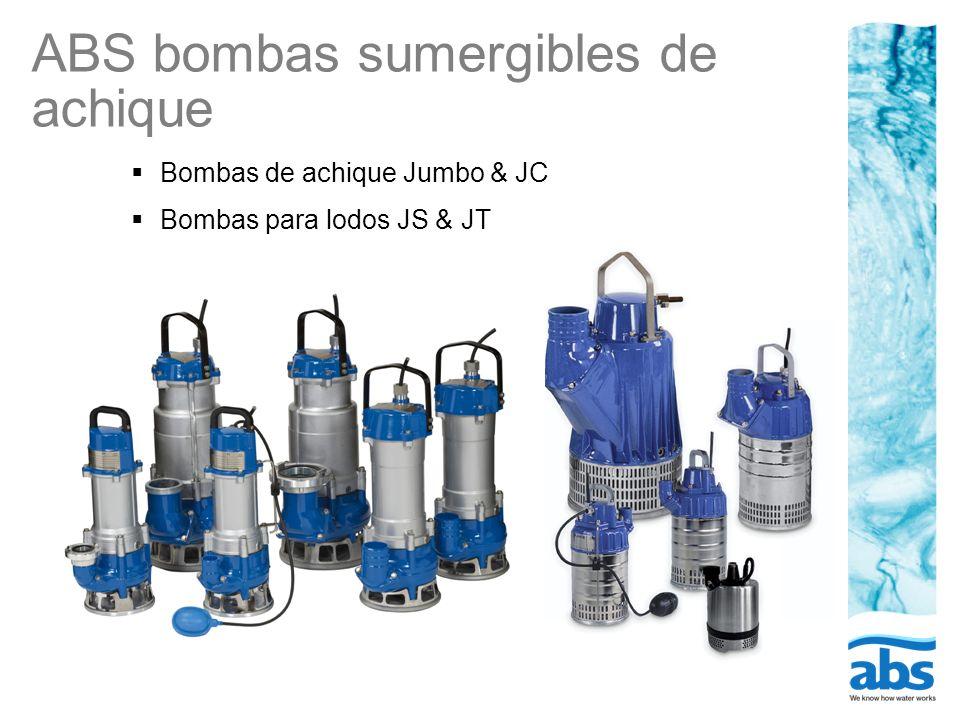 ABS bombas sumergibles de achique Bombas de achique Jumbo 12 a 84 & JC 24-84 para el bombeo de aguas limpias y sucia mezcladas con tierra Bombas para lodos JS 12 a 84 excelentes para el bombeo de lodos y agua con sólidos en suspensión