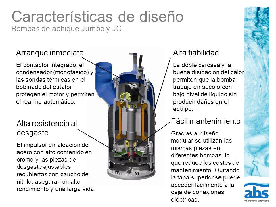 Características de diseño Bomba para lodos JS Arranque inmediato El contactor integrado conectado a las sondas térmicas en el bobinado del estator protegen el motor y permiten el rearme automático.