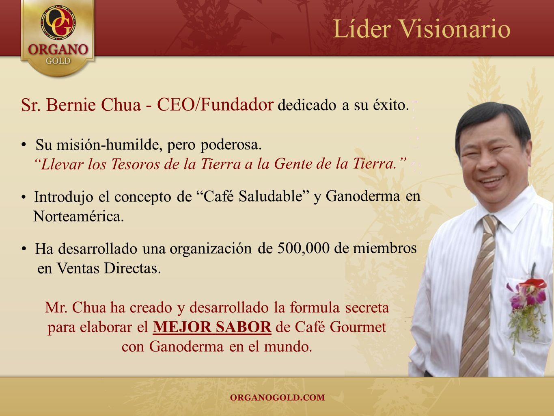 Sr. Bernie Chua - CEO/Fundador dedicado a su éxito. Su misión-humilde, pero poderosa. Llevar los Tesoros de la Tierra a la Gente de la Tierra. Introdu