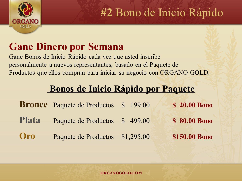 #2 Bono de Inicio Rápido Gane Dinero por Semana Gane Bonos de Inicio Rápido cada vez que usted inscribe personalmente a nuevos representantes, basado en el Paquete de Productos que ellos compran para iniciar su negocio con ORGANO GOLD.