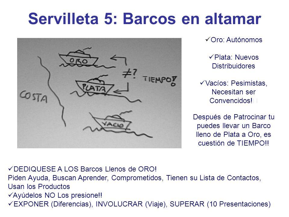 Servilleta 5: Barcos en altamar Oro: Autónomos Plata: Nuevos Distribuidores Vacíos: Pesimistas, Necesitan ser Convencidos.
