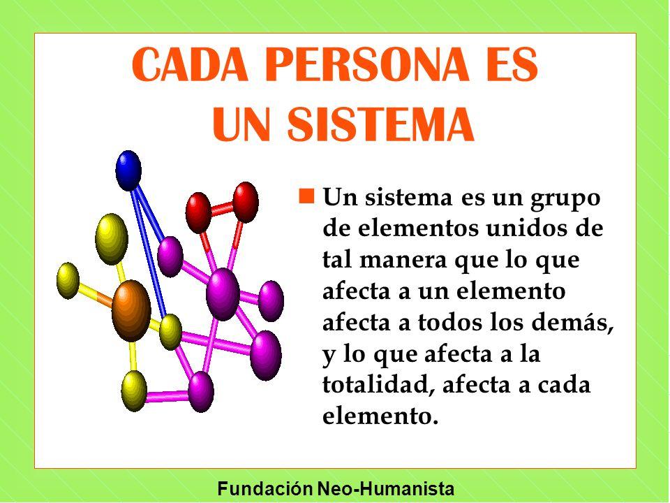 Fundación Neo-Humanista CADA PERSONA ES UN SISTEMA n Un sistema es un grupo de elementos unidos de tal manera que lo que afecta a un elemento afecta a