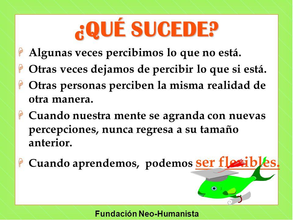 Fundación Neo-Humanista ¿QUÉ SUCEDE? H Algunas veces percibimos lo que no está. H Otras veces dejamos de percibir lo que si está. H Otras personas per