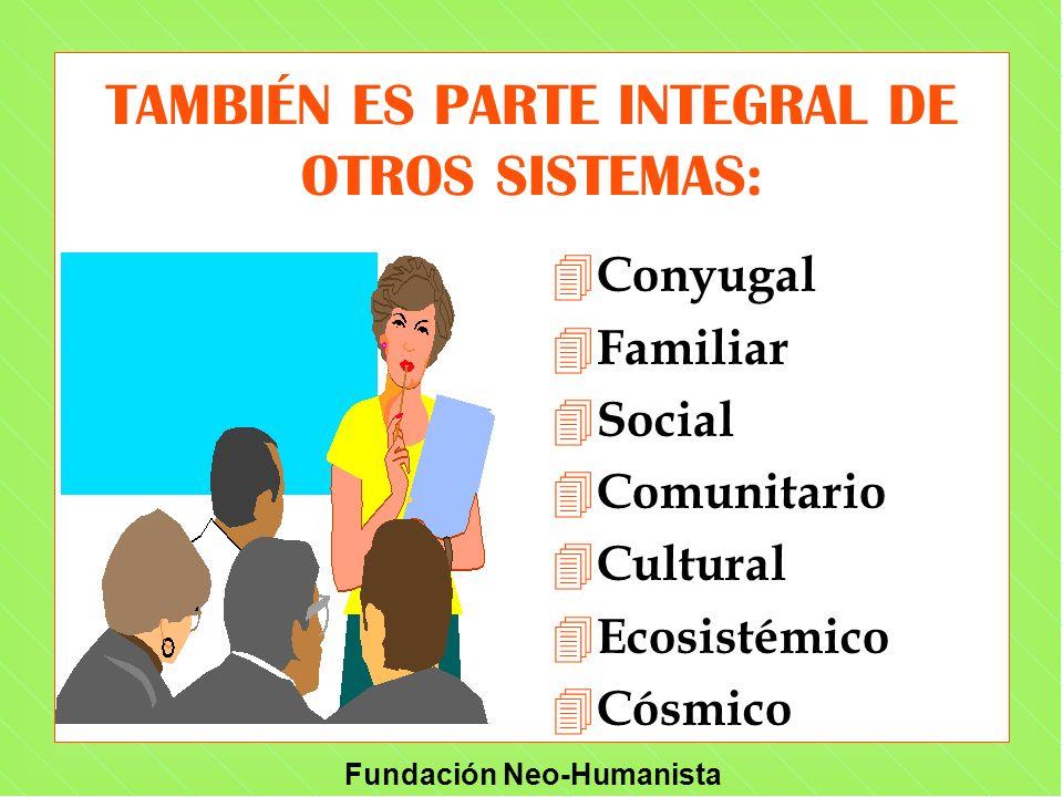 Fundación Neo-Humanista TAMBIÉN ES PARTE INTEGRAL DE OTROS SISTEMAS: 4 Conyugal 4 Familiar 4 Social 4 Comunitario 4 Cultural 4 Ecosistémico 4 Cósmico