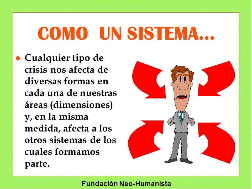 Fundación Neo-Humanista COMO UN SISTEMA... l Cualquier tipo de crisis nos afecta de diversas formas en cada una de nuestras áreas (dimensiones) y, en