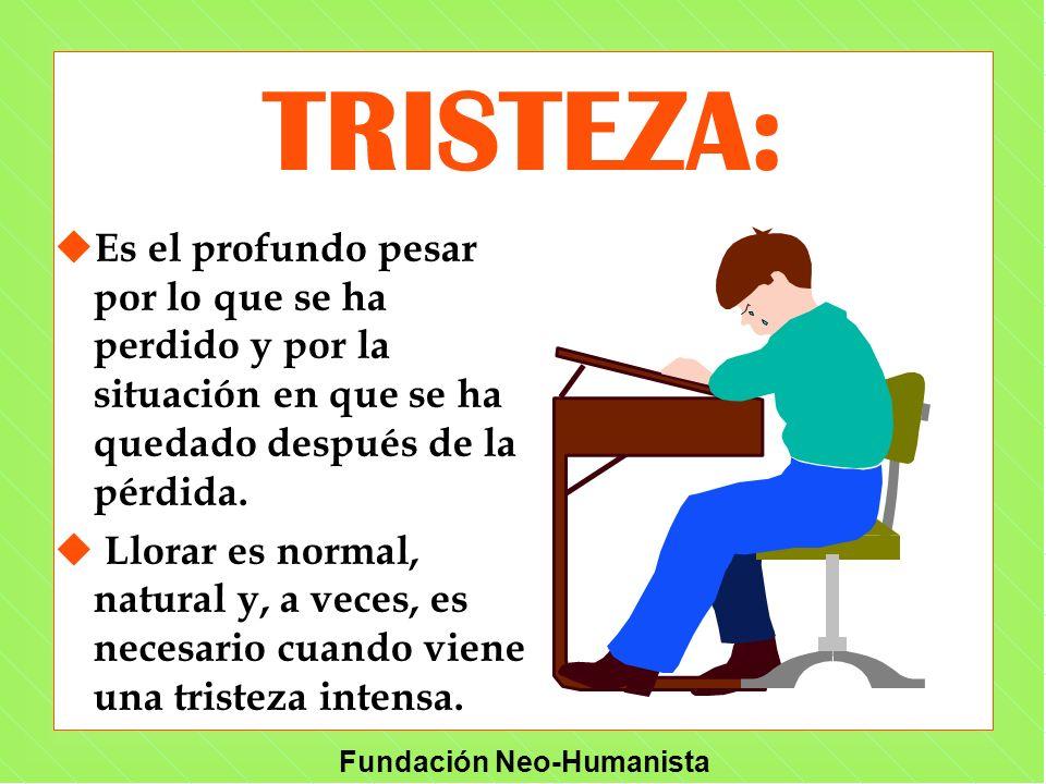 Fundación Neo-Humanista TRISTEZA: u Es el profundo pesar por lo que se ha perdido y por la situación en que se ha quedado después de la pérdida. u Llo