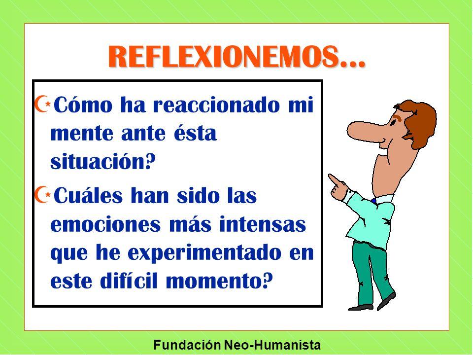 Fundación Neo-Humanista REFLEXIONEMOS... Z ZCómo ha reaccionado mi mente ante ésta situación? Z ZCuáles han sido las emociones más intensas que he exp