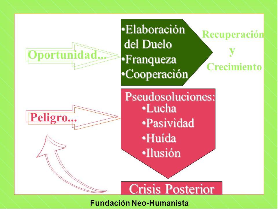 Fundación Neo-Humanista Oportunidad... Pseudosoluciones: LuchaLucha PasividadPasividad HuídaHuída IlusiónIlusión ElaboraciónElaboración del Duelo del