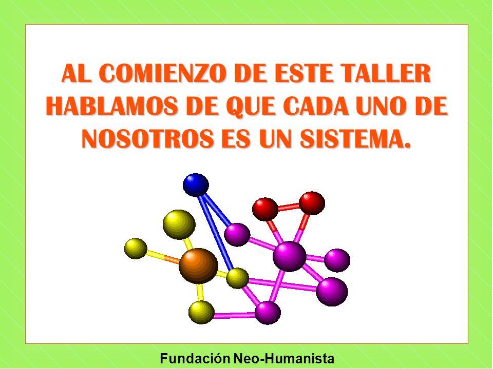 Fundación Neo-Humanista AL COMIENZO DE ESTE TALLER HABLAMOS DE QUE CADA UNO DE NOSOTROS ES UN SISTEMA.