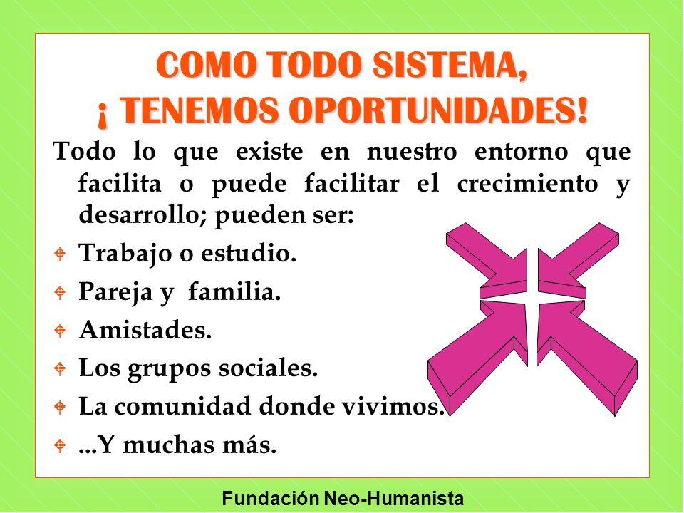 Fundación Neo-Humanista COMO TODO SISTEMA, ¡ TENEMOS OPORTUNIDADES! Todo lo que existe en nuestro entorno que facilita o puede facilitar el crecimient