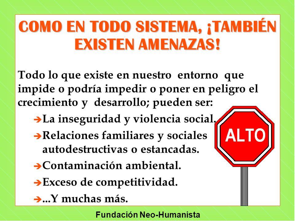 Fundación Neo-Humanista COMO EN TODO SISTEMA, ¡TAMBIÉN EXISTEN AMENAZAS! Todo lo que existe en nuestro entorno que impide o podría impedir o poner en