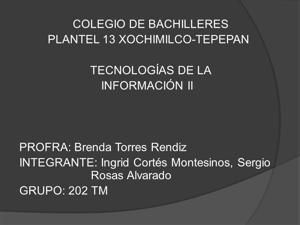 COLEGIO DE BACHILLERES PLANTEL 13 XOCHIMILCO-TEPEPAN TECNOLOGÍAS DE LA INFORMACIÓN II PROFRA: Brenda Torres Rendiz INTEGRANTE: Ingrid Cortés Montesinos, Sergio Rosas Alvarado GRUPO: 202 TM