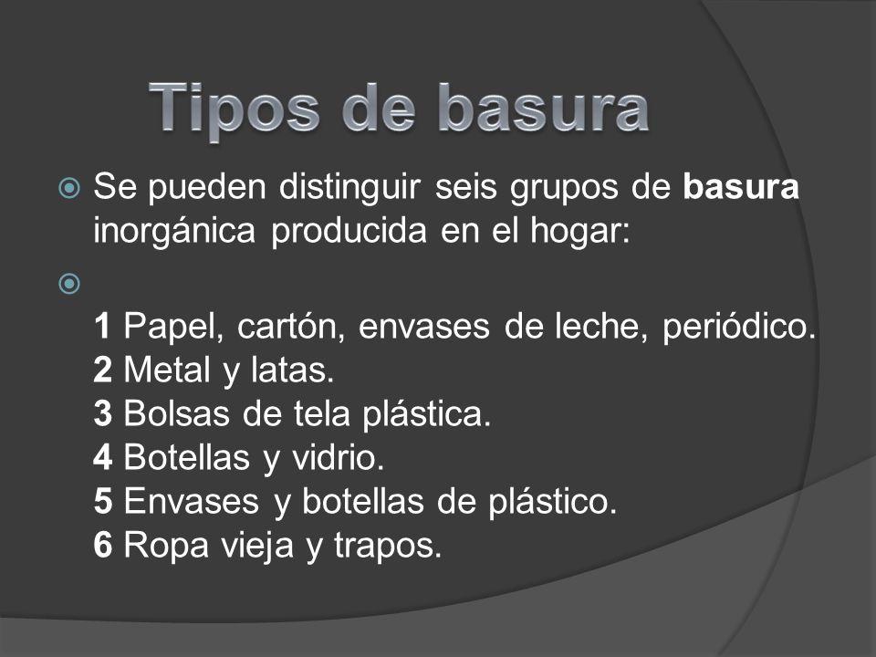 Se pueden distinguir seis grupos de basura inorgánica producida en el hogar: 1 Papel, cartón, envases de leche, periódico.