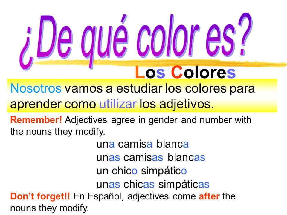 Los Colores Nosotros vamos a estudiar los colores para aprender como utilizar los adjetivos. Remember! Adjectives agree in gender and number with the