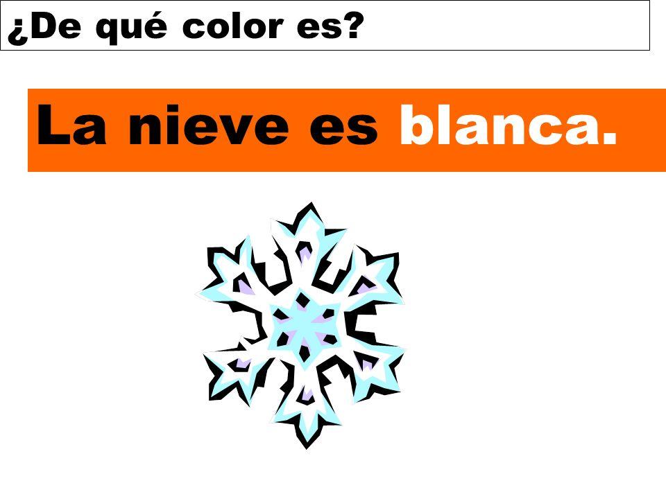 ¿De qué color es? La nieve es blanca.