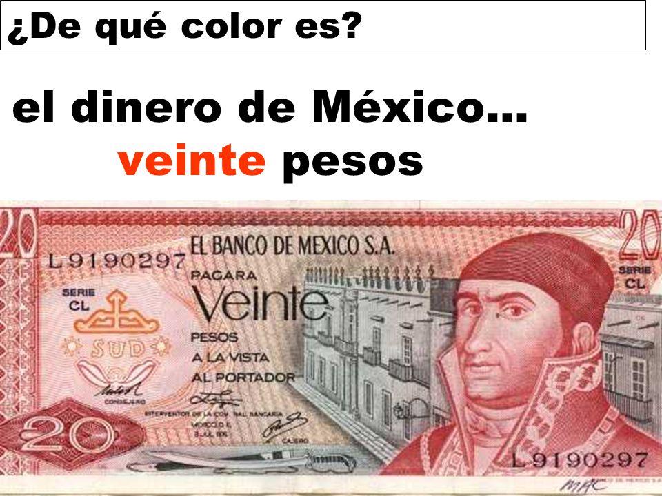 ¿De qué color es? el dinero de México... veinte pesos