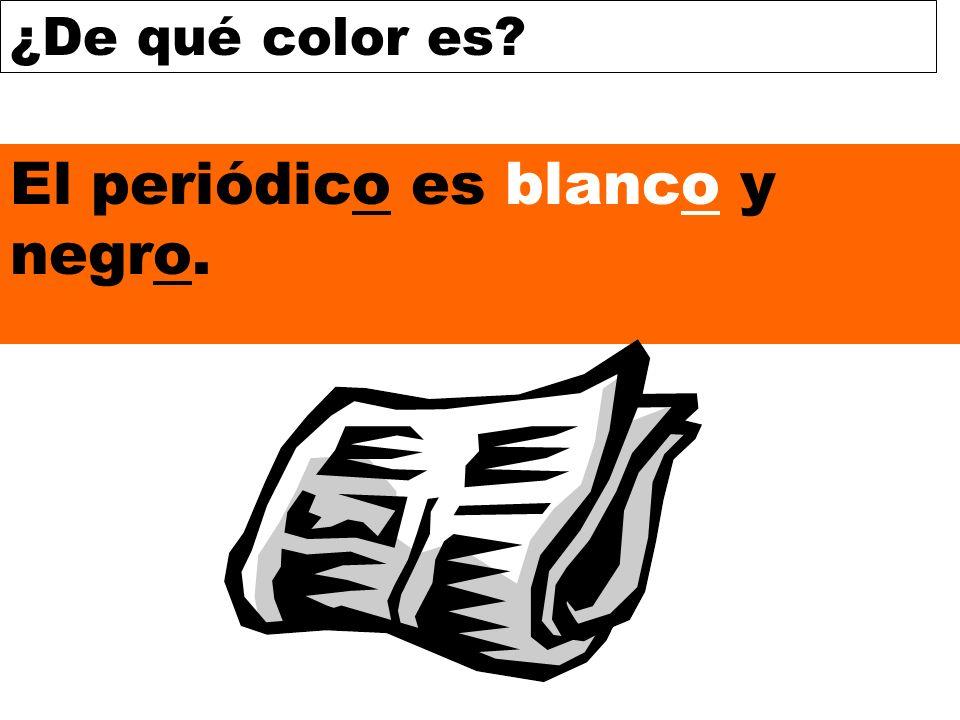 ¿De qué color es? El periódico es blanco y negro.