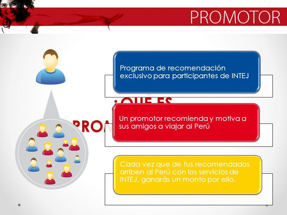 ¿QUÉ ES PROMOTOR INTEJ? Programa de recomendación exclusivo para participantes de INTEJ Un promotor recomienda y motiva a sus amigos a viajar al Perú