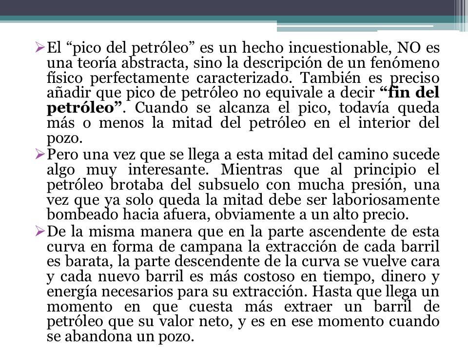 El pico del petróleo es un hecho incuestionable, NO es una teoría abstracta, sino la descripción de un fenómeno físico perfectamente caracterizado. Ta