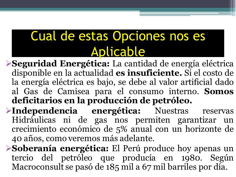 Cual de estas Opciones nos es Aplicable Seguridad Energética: La cantidad de energía eléctrica disponible en la actualidad es insuficiente. Si el cost