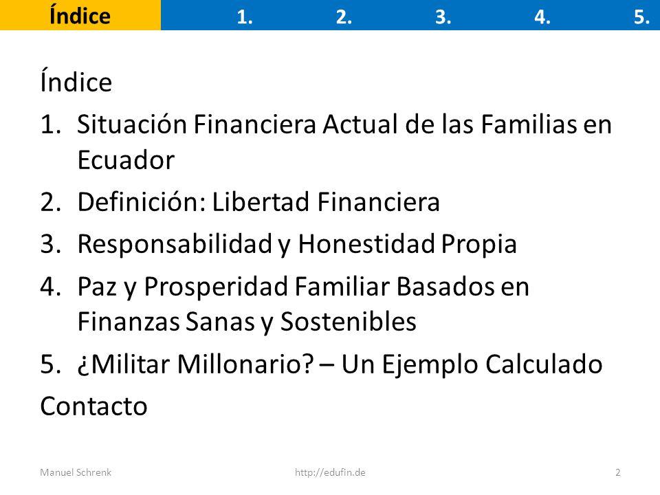 Índice 1.Situación Financiera Actual de las Familias en Ecuador 2.Definición: Libertad Financiera 3.Responsabilidad y Honestidad Propia 4.Paz y Prospe
