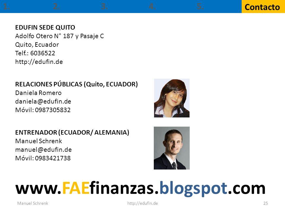 1. Contacto 2.3.4. 5. 25http://edufin.deManuel Schrenk EDUFIN SEDE QUITO Adolfo Otero N° 187 y Pasaje C Quito, Ecuador Telf.: 6036522 http://edufin.de